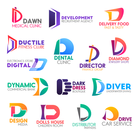 Corporate identity letter D business icons. Vector medicine and hiring, delivery and food, sport and health, finance, jewelry and technology. Banking, fashion and hobby, design and entertainment