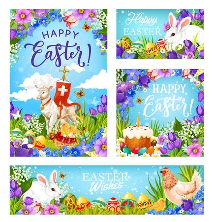 Felices saludos de Pascua, fiesta religiosa cristiana. Vector de Pascua huevos de caza, conejo en flores y cordero con crucifijo pascual cruz bandera, pan de Pascua con decoraciones de velas y huevos