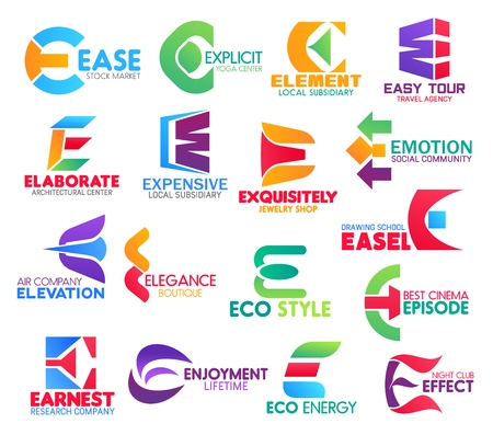 Corporate identity letter E business icons. Vector stock and sport, finance, travel and architecture, jewelry and support, transportation. Fashion and ecology, entertainment and science isolated