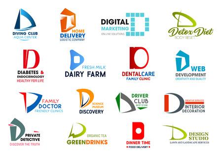 Identyfikacji korporacyjnej litera D ikony biznesu. Wektor hobby i dostawa, marketing i odżywianie, medycyna i żywność, stomatologia i rozwój. Nauka i transport, projektowanie i badania, picie