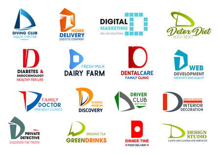 Corporate identity letter D business icons. Vector hobby and delivery, marketing and nutrition, medicine and food, dentistry and developement. Science and transport, design and investigation, drink