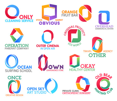 Corporate identity letter O business icons. Vector cleaning and food, banking and entertainment, ecology and travel, hobby and shopping. Health and design, art and medicine, hunting isolated