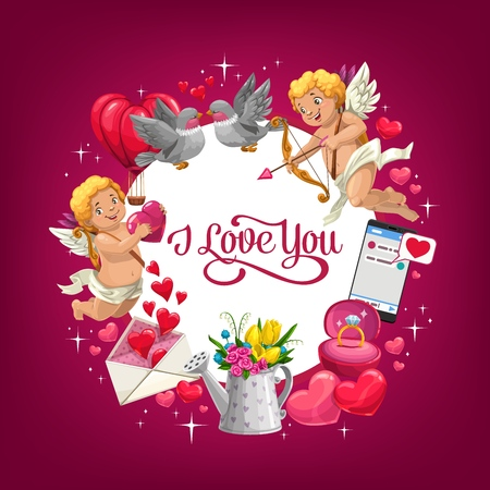 Valentines Day I love you vector greeting card with romantic holiday gifts. Red hearts, bouquet of flowers and wedding ring, love letter envelope, Cupids with arrows, bows and couple of loving birds Иллюстрация