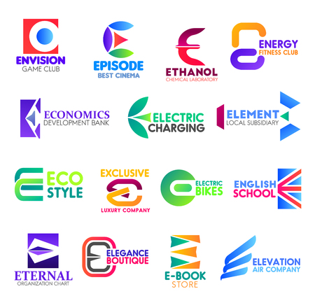Corporate identity letter E business icons. Vector gaming and entertainment, science, sport and banking, electricity and finance. Ecology and transport, education and statistics, fashion and shopping Illustration