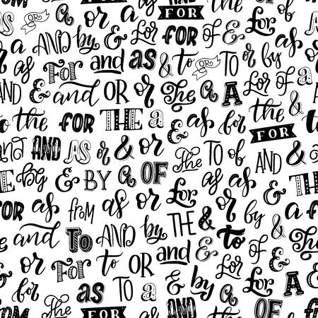Artykuły, przyimki i ampersands wzór. Czcionka wektorowa i napis w monochromatycznej niekończącej się teksturze. Kaligrafia i elementy gramatyki angielskiej wewnątrz nadruku tapety, słów i liter