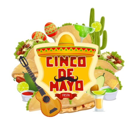 Cinco de Mayo Mexican traditional fiesta and Mexico holiday. Vector Mexico food tacos, quesadilla and tequila with sombrero and mustache, Cinco de Mayo celebration guitar and cactus