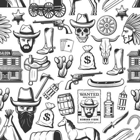 Western seamless pattern, wild west cowboy and Indian, cactus and coins, revolver and axe. Vector saloon and horse, boot and skull, play cards and dynamite. Whiskey and boat, knife and saddle Standard-Bild - 125643024