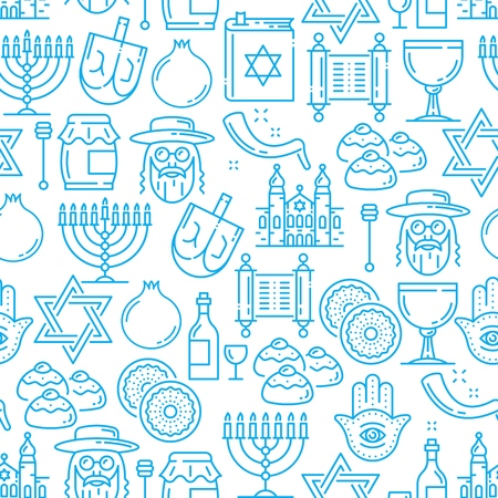 Jewish symbols seamless pattern, Judaism religion. Vector pomegranate and Jew man, David star and bun, goblet and ingot, temple and Hamsa hand. Honey and candlestick, wine and horn outline, line art Banque d'images - 116516990