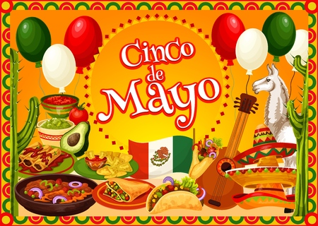 Cinco de Mayo Mexican fiesta party sombreros, guitar and cactus vector greeting card. Mexico flag, chilli tacos and nachos with avocado guacamole and tomato sauce, alpaca and balloons Illustration
