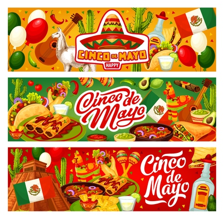 Cinco de Mayo happy holiday in Mexico and traditional fiesta celebration. Vector Cinco de Mayo party food burrito and tacos, tequila with lime and Mexican flag balloon with pinata and Maya pyramid