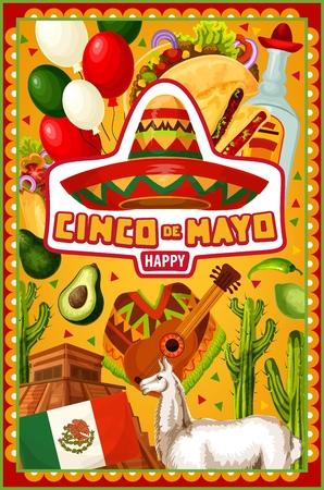 Happy Cinco de Mayo, Mexican holiday party celebration symbols. Vector Mexico flag balloons, Aztec pyramid and sombrero with guitar and poncho, Cinco de Mayo siesta party cactus tequila with avocado Illustration