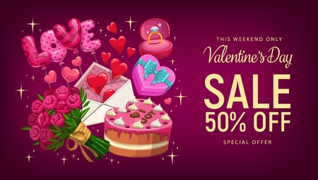 Valentines Day sale offer vector banner with romantic gifts and red hearts. Wedding ring, love letter envelope and candies, chocolate cake, bouquet of rose flowers and balloons, discount price promo Vettoriali