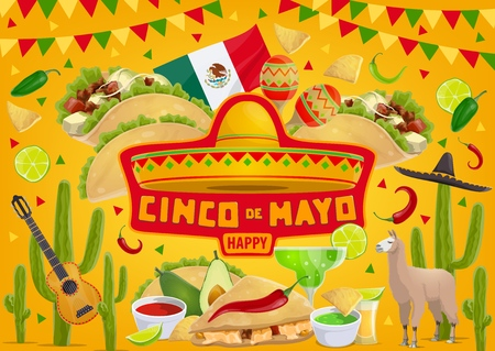Cinco de Mayo fiesta symbols and traditional celebration food. Vector Mexico flag, sombrero and poncho with avocado guacamole and Cinco de Mayo maracas, tequila, jalapeno and chili pepper