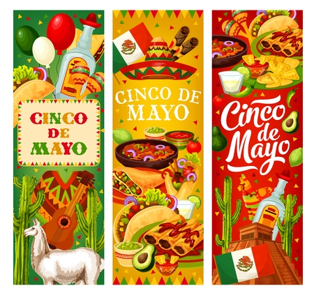 Cinco de Mayo fiesta, Mexico holiday and party celebration banners. Vector traditional Cinco de Mayo Mexican food with sombrero, cigar and poncho, cactus tequila, Aztec pyramid and jalapeno pepper