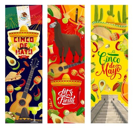 Cinco de Mayo greetings and celebration symbols, Mexico holiday fiesta decorations. Vector Cinco de Mayo traditional party guitar, sombrero and tequila, avocado and maracas in flags and fireworks