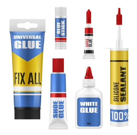 Glue stick, tube and bottle packages vector mockup. Super glue, shoes repair and universal adhesives, silicone sealant and PVA containers with plastic lids. School supplies or office stationery design