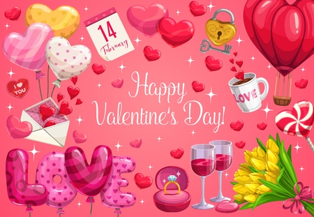 Happy Valentines Day vector greeting card with love holiday hearts, romantic gifts and flowers. Red balloons, love letter envelope and wedding ring, bouquet of tulips, candy and calendar, wine and key Foto de archivo - 116517205