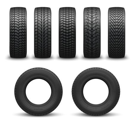 Neumáticos de coche o neumáticos de automóvil ilustración vectorial 3d. Ruedas de automóvil con diferentes patrones de banda de rodadura desde las vistas lateral y frontal. Tienda de neumáticos, vehículos de motor y temas de transporte.