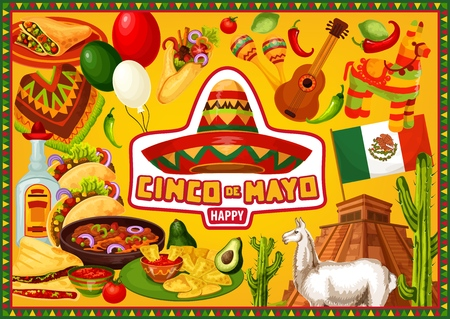 Happy Cinco de Mayo, Mexican 5th May holiday fiesta. Vector party decoration symbols and Cinco de Mayo food, lama at Aztec pyramid, nachos in guacamole, tequila with pepper, poncho and sombrero