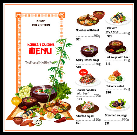 Menu of Korean cuisine, vector. Noodle with beef and fish with soy sauce, spicy kimchi soup and starch noodles. Tricolor vegetables salad and stuffed squid, steamed sausage on plate, soup and sweets Illustration