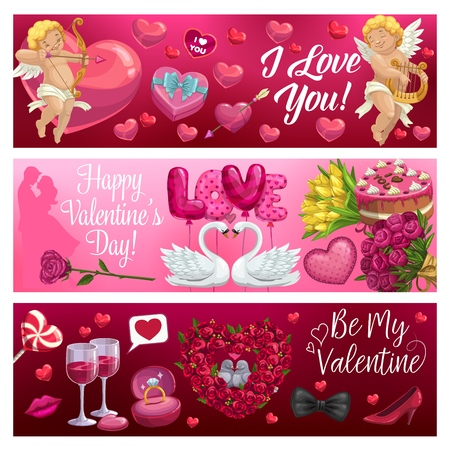 Valentines Day love holiday gifts vector greeting banners. Hearts, balloons and chocolate cake, wedding ring, Cupids and flowers bouquet, candy, loving couple of birds and wine, Amurs arrows and bows