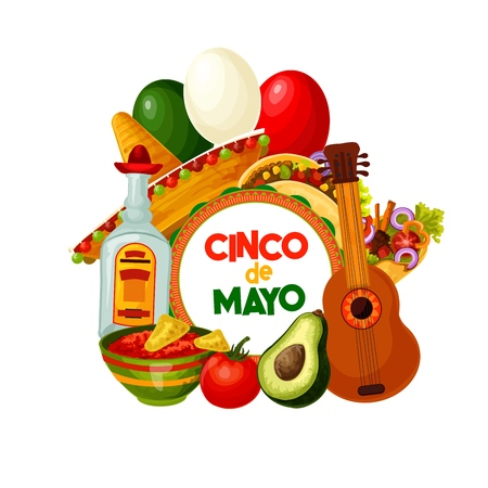 Cinco de Mayo celebration symbols and Mexico holiday fiesta food. Vector Cinco de Mayo traditional burrito with salsa, avocado and cactus tequila, party guitar and sombrero with Mexican flag balloons Illustration