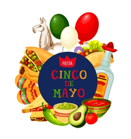 Cinco de Mayo traditional greeting and party celebration symbols. Vector Mexico flag balloons, tequila and quesadilla with tacos, guacamole avocado and tomato mole salsa, maracas and jalapeno pepper Illustration
