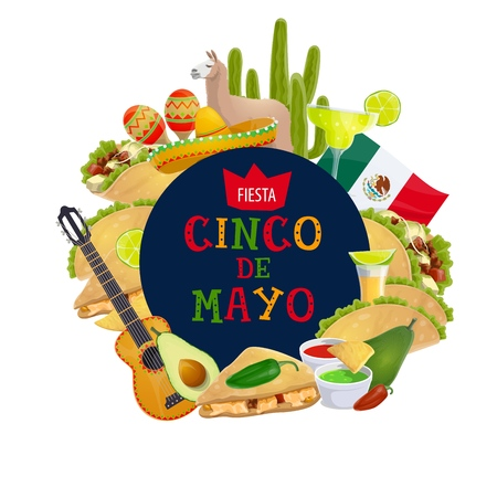 Cinco de Mayo traditional Mexico holiday and 5 May fiesta celebration. Vector Cinco de Mayo food and party symbols, guitar with tequila lime and tacos, Mexico flag and avocado guacamole Illustration