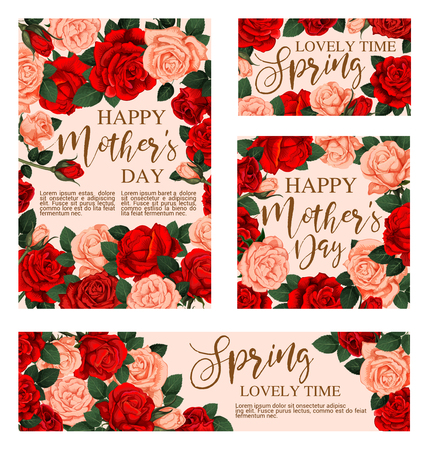 Floral greeting card for Happy Mother Day design. Blooming rose bouquet with red and pink flower, green leaf and floral bud festive banner for Spring Holiday celebration template