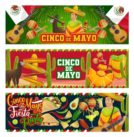 Cinco de Mayo fiesta party vector invitations with Mexican holiday symbols. Mariachi with guitar, maracas and sombrero, cactus, tequila margarita and flag of Mexico, chilli tacos and avocado guacamole