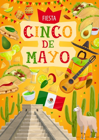 Cinco de Mayo fiesta and Mexican traditional 5 May holiday celebration. Vector Cinco de Mayo symbols, flags and avocado guacamole, cactus tequila and Mexico Aztec or Mayan pyramid, poncho and pepper