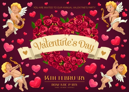 Valentines Day holiday romantic party vector invitation with love hearts and Cupids. Rose flowers wreath in shape of heart and flying Amurs with arrows, bows, harp and pipe
