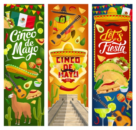 Mexican holiday Cinco de Mayo greeting banners with traditional Mexico celebration symbols. Vector Mexican 5th May fiesta party food nachos and tacos, Aztec and Maya pyramids, cactus tequila and lime