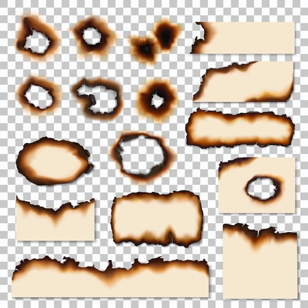 Burnt holes or realistic scorched piece of paper. Dirty edges of parchment sheets left by fire or flame. Damaged surface, old notes remnants or scraps realistic vector isolated on transparent Çizim