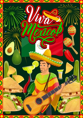 Mexican fiesta party mariachi with guitar and sombrero vector greeting card of Cinco de Mayo holiday. Cactus, tequila margarita and chilli, flag of Mexico, maracas and tacos with festive fireworks