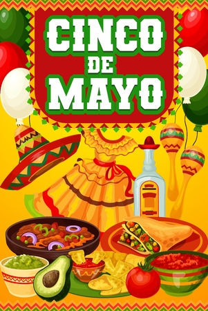 Mexican holiday Cinco de Mayo festive food and drink vector design of fiesta party invitation. Tequila margarita, chilli tacos, nachos and burritos with sombrero, maracas, mariachi dress and balloons