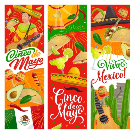Cinco de Mayo fiesta guitar, sombrero and mariachi maracas vector design, Mexican holiday party invitations. Cactus, tequila margarita and chilli tacos, flag of Mexico, moustache and festive fireworks Vectores