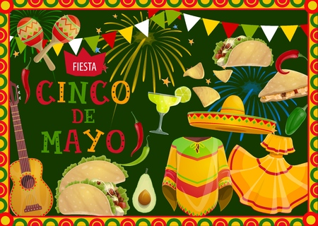 Cinco de Mayo fiesta party sombrero, guitar and mariachi costumes vector greeting card of Mexican holiday. Tequila margarita, chilli pepper and maracas, tacos, nachos and avocado with festive bunting Vectores