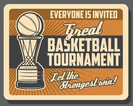 Basketball sport game, basket and ball, retro vector. Sporting tournament, team game league. Championship and competition, activity and hobby, invitation on match, sport event announcement Illustration