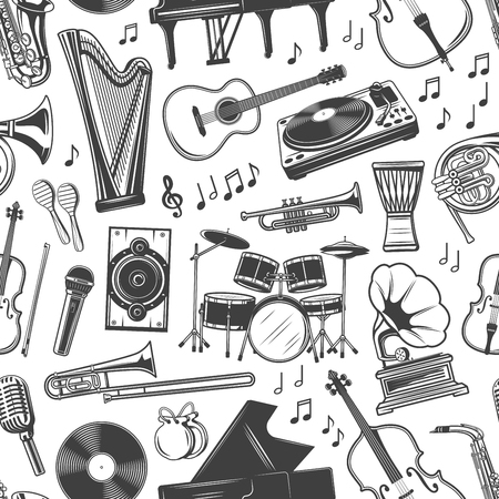 Music and musical instruments seamless pattern. Vector harp and guitar, DJ panel and vinyl disc, cello and piano, trumpet and saxophone. Maracas and drum, note and microphone, gramophone and violin Archivio Fotografico - 125643053