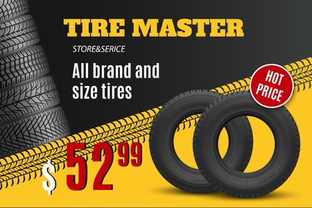 Tire shop vector banner of car wheel tyres with tread track and sale price offer. Tire shop, spare parts and auto service discount promotion design