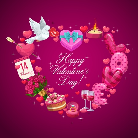 Valentines Day heart of romantic holiday gifts vector design. Wedding ring, flowers bouquet and chocolate cake, balloons, wine and calendar, dove bird and candle frame with greeting wishes in center Illustration