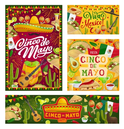 Cinco de Mayo Mexican holiday vector banners. Fiesta party sombrero, cactus and tequila margarita, Mexico flag, mariachi guitar and maracas, chilli, tacos and nachos greeting card with bunting frame Illustration
