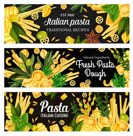 Italian pasta, vector on black. Spaghetti and ravioli, chifferi and alluovo, orzo and tortelloni, maccheroni and rotelle, gnocchi and fagottini, conchiglie. Rosemary and anise, olive and basil