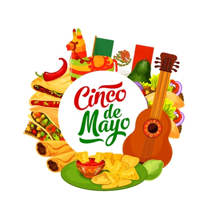 Cinco de Mayo traditional fiesta party celebration. Vector Mexico flag with Cinco de Mayo food burrito, nachos with chili pepper salsa and avocado, quesadilla with tacos and pinata Illustration