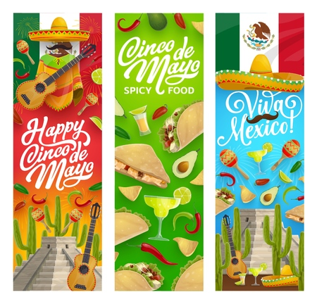 Banners de saludo de vector de fiesta mexicana del Cinco de Mayo con comida de fiesta, bebidas, sombrero y guitarra. Tequila margarita, cactus y chile, mariachi maracas, bigote y sombrero, tacos, nachos, lima