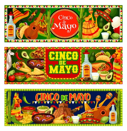 Cinco de Mayo Mexican holiday vector greeting banners with fiesta party sombrero, guitar and maracas. Tequila margarita, cactus and pinata, chilli tacos, nachos and burrito, avocado and tomato sauce