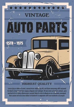 Vintage automobile spare parts store or shop poster. Vector retro car diagnostic or repair station, automotive mechanic garage service 일러스트