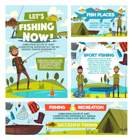 Fishing sport torus and fisherman fish catch hobby or leisure adventure. Vector fishers with rod tackles, lures and boat at lake or river, camping tent and fishing equipment Illustration