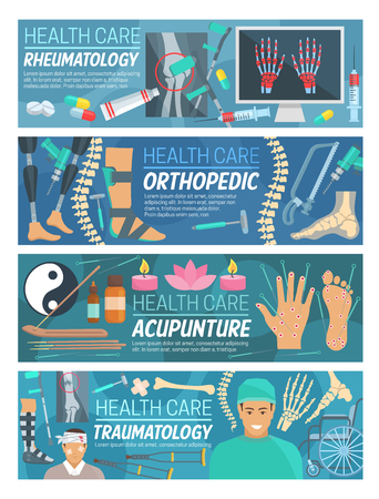 Rheumatology, orthopedic traumatology and acupuncture medicine banners. Vector rheumatologist and orthopedist doctors with medical diagnostic items and treatments or traumatologist surgery items